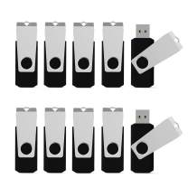 USB Flash Drive 32 GB USB Stick Pack, 10 PCS K&ZZ 32GB Memory Stick Swivel Thumb Drive Data Storage Jump Drive Black Expansion Disk