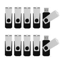 K&ZZ 10 Pack Bulk 8GB USB Flash Drives USB 2.0 Swivel Memory Stick Pen Drive Thumb Sticks Jump Drive U Disk (8GB, 10PCS, Black)