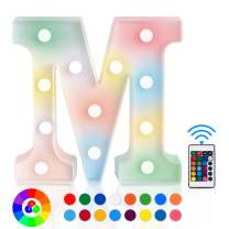 ZRO LED Letter Lights 16 Colors-Changing, 3D Night Lamp 26 Alphabet A-Z LED Marquee Sign with Remote Control for New Year Eve Valentine's Day Home Decor Birthday Party Wedding Bedroom Wall Decor (M)