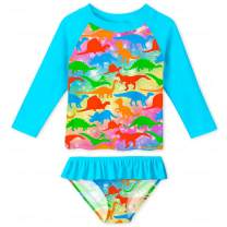 YRCUONE Girls Long Sleeve Rashguard Swimsuit Set Two Piece Beach Bikinki Swimwear Bathing Suits with UPF 50+ 2-8 Years