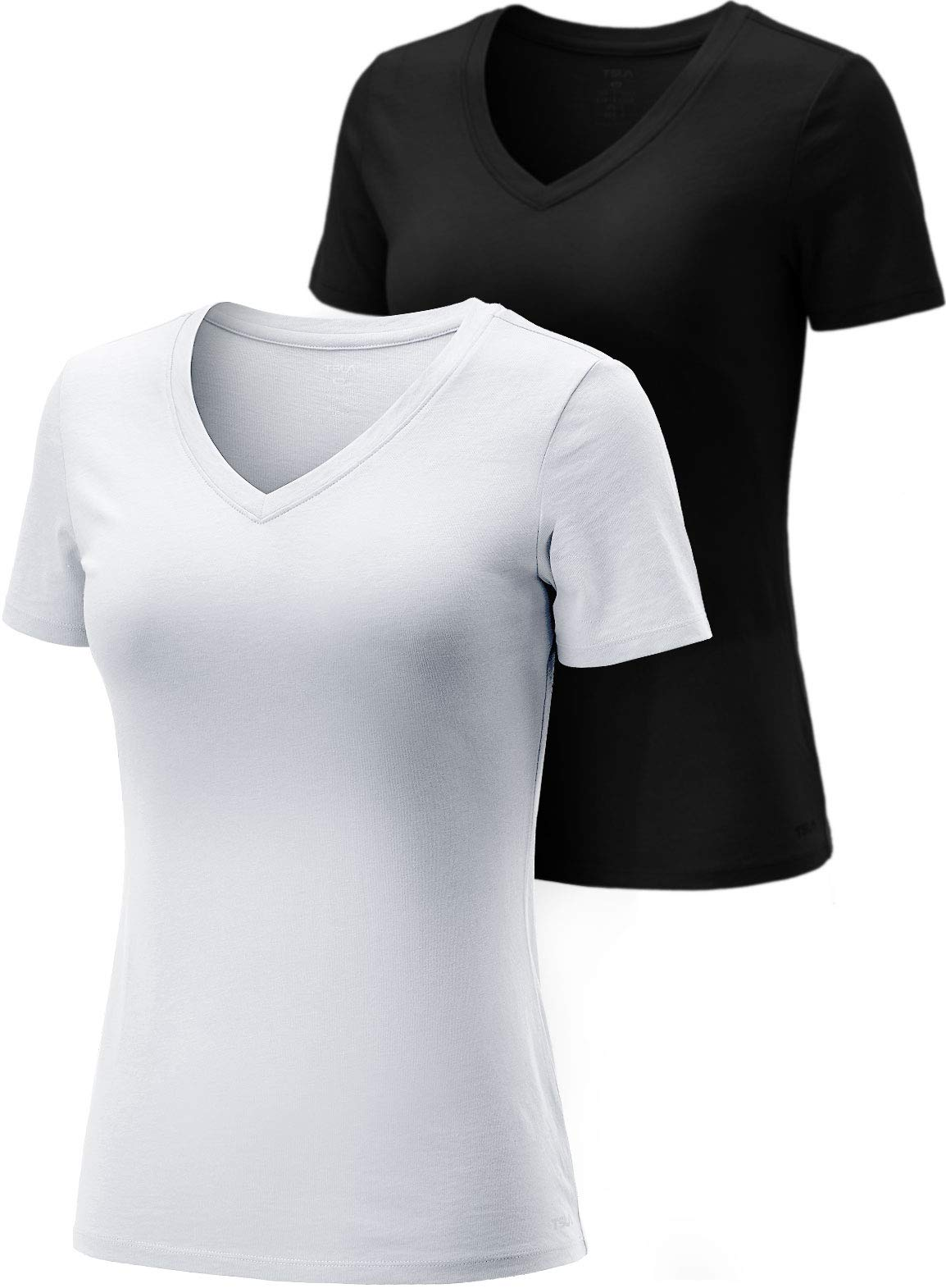 TSLA Women's Short Sleeve Workout Shirts, Dry Fit Moisture Wicking V-Neck T-Shirts, Sports Running Tee Shirt