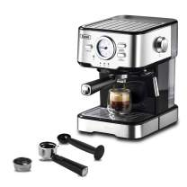 Espresso Machines 15 Bar with Adjustable Milk Frother Wand Expresso Coffee Machine for Cappuccino, Latte, Mocha, Machiato, 1.5L Removable Water Tank, Double Temperature Control System, 1100W, Black