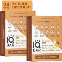 IQBAR Brain + Body Protein Bars, Banana Nut, Keto, Vegan, Paleo Friendly, Low Sugar, Low Net Carb, High Fiber, Gluten Free, No Sugar Alcohols, 24 Count