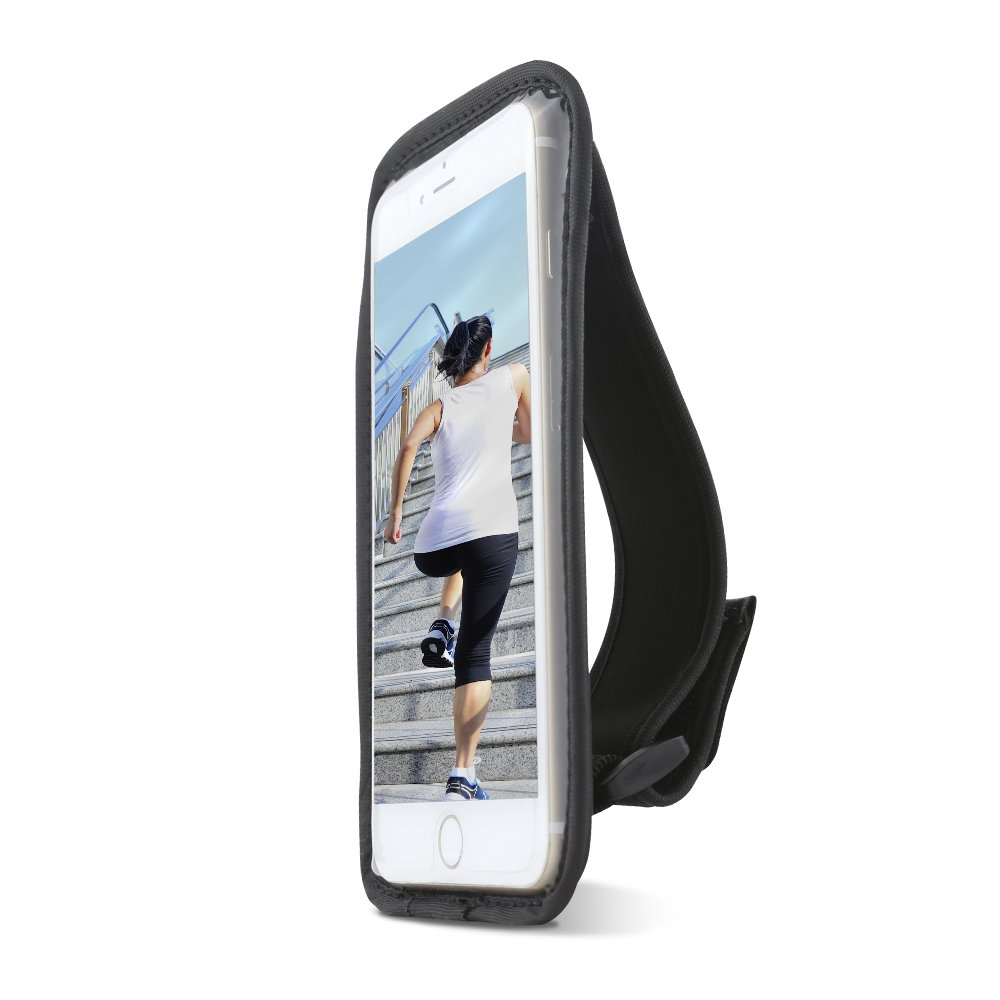 Gear Beast Sports Hand Held Running Case Pouch Fits iPhone 8 7 6s 6 SE 5 Without A CASE. Cell Phone Holder for Running Jogging Workout Fitness Exercise. Water Resistant with Card Pocket