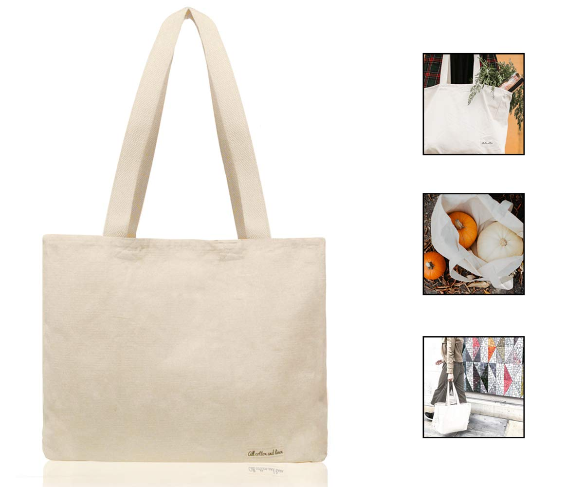 """Large Organic Bags - Canvas Tote Bag - Reusable Canvas Grocery Bags - Cotton Organic Tote - Reusable Grocery Shopping Bags - Cloth Shopping Bags - Cotton Tote Bags (14"""" H x 17"""" W x 5"""", 1 Pack)"""