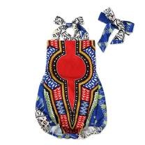 Newborn Infant Baby Girl Clothes Summer Boho Style African Print Romper Bodysuit Clothing Set with Headband
