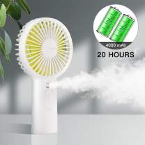 Handheld Misting Mini Fan, 4000 mAh Battery Operated or USB Powered Portable Fan with Cooling Humidifier, 4-15 Hours Battery Life, Water Spray Fan, 3 Setting,Quiet Air Conditioner for Travel and Women