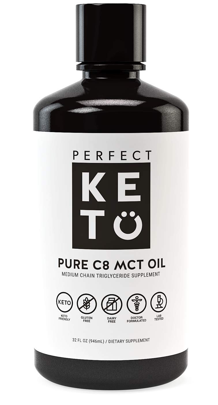 Perfect Keto Rapid Energy Pure MCT Oil: Ketogenic Coconut Oil Supplement. 100% Pure MCT Oil | Ketones Best as Ketogenic Diet Supplement (C8, 32 oz)