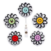 Qinsuee Graffiti Sunflower Retractable Badge Holder with Alligator Clip, 24 inch Retractable Cord, ID Badge Reel, 5 Pack