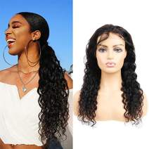 Closure Wigs Human Hair 4X4 Lace Front Wigs For Black Women Water Ocean Wave 4X4 Closure Wigs With Baby Hair Free Part Pre Plucked Hairline 130 Density Virgin Human Hair Wigs Natural Black 24 Inch