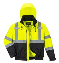 Portwest Hi-Vis Premium Bomber Jacket Viz Insulated Safety Visability Work Wear Rain ANSI 3