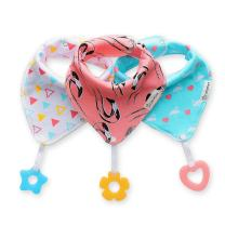 Baby Bandana Drool Bibs 3-Pack and Teething Toys 3-Pack Made with 100% Organic Cotton, Super Absorbent and Soft Unisex (Vuminbox) (Pink)