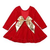 Seyouag Toddler Baby Girls Red Dress Large Bowknot Velvet Backless Party Dresses