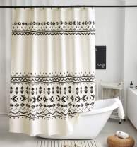 Uphome Fabric Shower Curtain Black and Beige Geometric Pattern Cloth Shower Curtain Set with Hooks Chic Boho Bathroom Decor,Heavy Duty Waterproof, 60x72