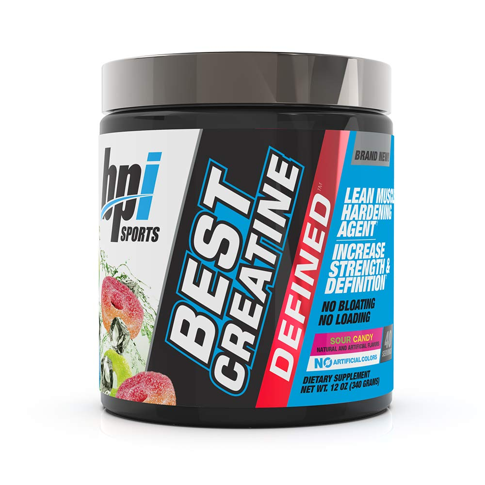 BPI Sports Best Creatine Defined Lean Muscle Hardening Agent, High Performance Monohydrate Powder, Sour Candy, 12 Ounce