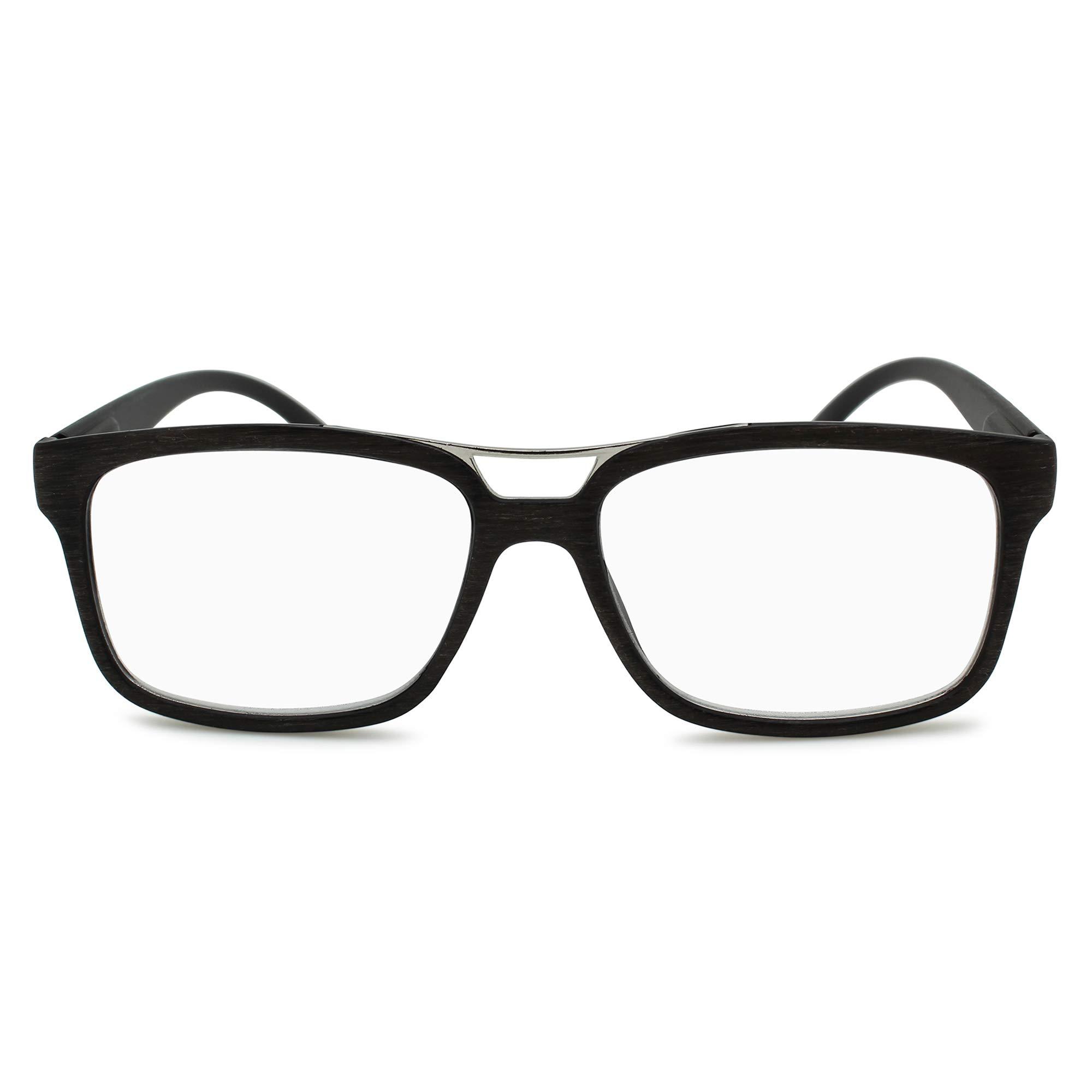 2SeeLife Men's Reading Glasses: Metal Bar Rectangular Readers, Faux Woodgrain Eyeglass Frame with Fully Magnified Lenses | Dark Brown, 1.50