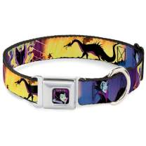 Buckle-Down Dog Collar Seatbelt Buckle Maleficent Poses Available In Adjustable Sizes For Small Medium Large Dogs