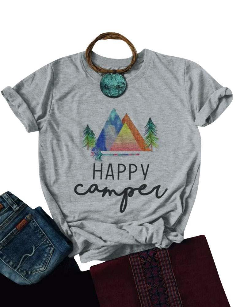 Nlife Women Casual Happy Camper Shirts Short Sleeve Happy Camper T Shirt Tops