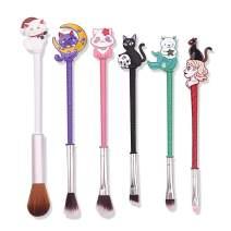 Magic Sakura Makeup Brushes Set - 6pcs Cosmetic Makeup Brush Set Professional Tool Kit Set Pink Drawstring Bag Included (Cat)