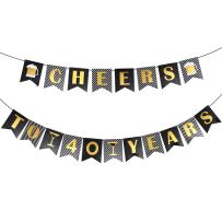 40th Birthday Decorations, Unomor 40th Happy Birthday Banner Cheers to 40 Years Banner for Men Women 40th Wedding Anniversary Decorations School Graduation Ceremony Company Party Supplies