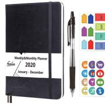 2020 Planner, 2020 Monthly & Weekly A5 Daily College Organizer Planner by Feela, Black Hardcover 176 Pages Day Agenda with 1 Black Pen 6 Sticker Sheets, Yearly Calendar Journal for Girls Adults