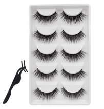 Louise Maelys 5 Pair False Eyelashes 3D Wispy Lashes Natural Eyelashes Extension Mink Fake Eyelashes Reusable with Applicator