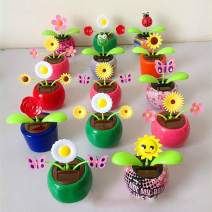Set of 5 Cute Solar Power Flip Flap Flower Insect for Car Decoration Swing Dancing Flower Eco-Friendly Bobblehead Solar Dancing Flowers in Colorful Pots