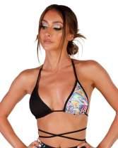 iHeartRaves Women's Strappy Crop Top Shirts - Bralette, Wrap Around Tops, Halter Styles