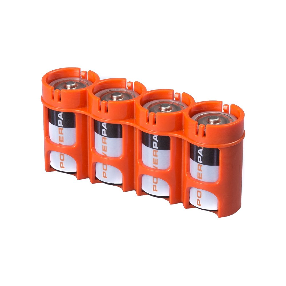 Storacell by Powerpax SlimLine C Battery Caddy, Orange, Holds 4 Batteries