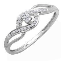 Dazzlingrock Collection 0.12 Carat (ctw) 10K Gold Round Diamond Ladies Bridal Criss Cross Engagement Promise Ring