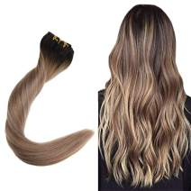 """Easyouth 18"""" Clip In Colored Hair Extensions Balayage Color #1B Fading To #18 Highlights With #12 Full Head 7Pcs/Set 120 Gram Double Weft Clip On Hair Extensions 100% Human Hair Extensions"""