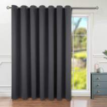 BGment Privacy Blackout Curtains for Sliding Glass Door, Grommet Thermal Insulated Darkening Room Divider Curtain for Living Room, 1 Panel (8.3ft Wide x 7ft Tall, Dark Grey)