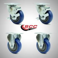 """Service Caster – 3.5"""" Blue Polyurethane Wheel – 2 Rigid and 2 Stainless Steel Swivel Casters w/Brakes – Set of 4"""