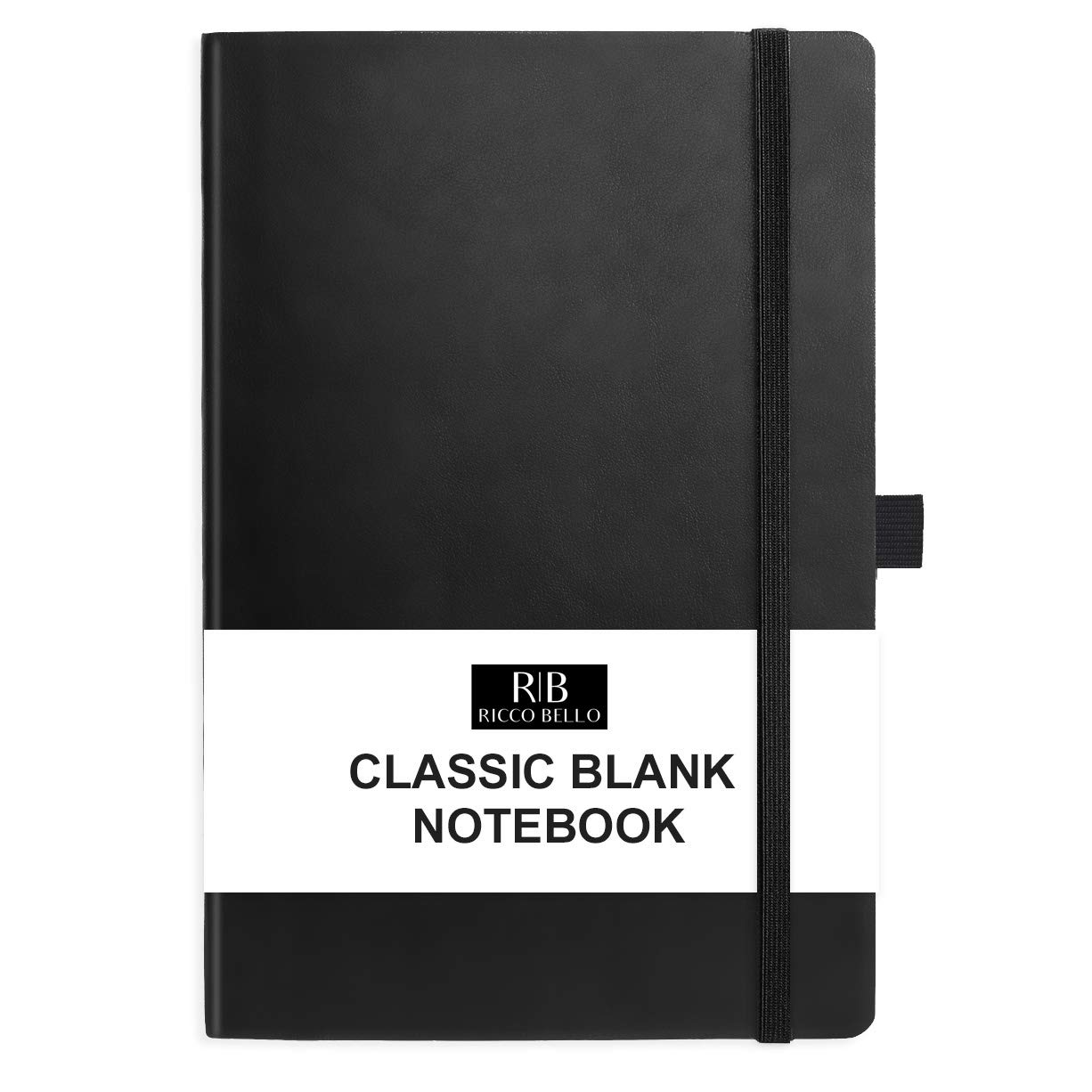 RICCO BELLO Hardcover Sketchbook and Writing Journal Notebook, Blank Unruled Plain Pages with Writing Guide, Fountain Pen Friendly Thick Paper 5.7 x 8.4 inches (Black)