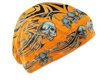 Zanheadgear Flydanna Bandanna, 100% Cotton, Orange Tribal Skull