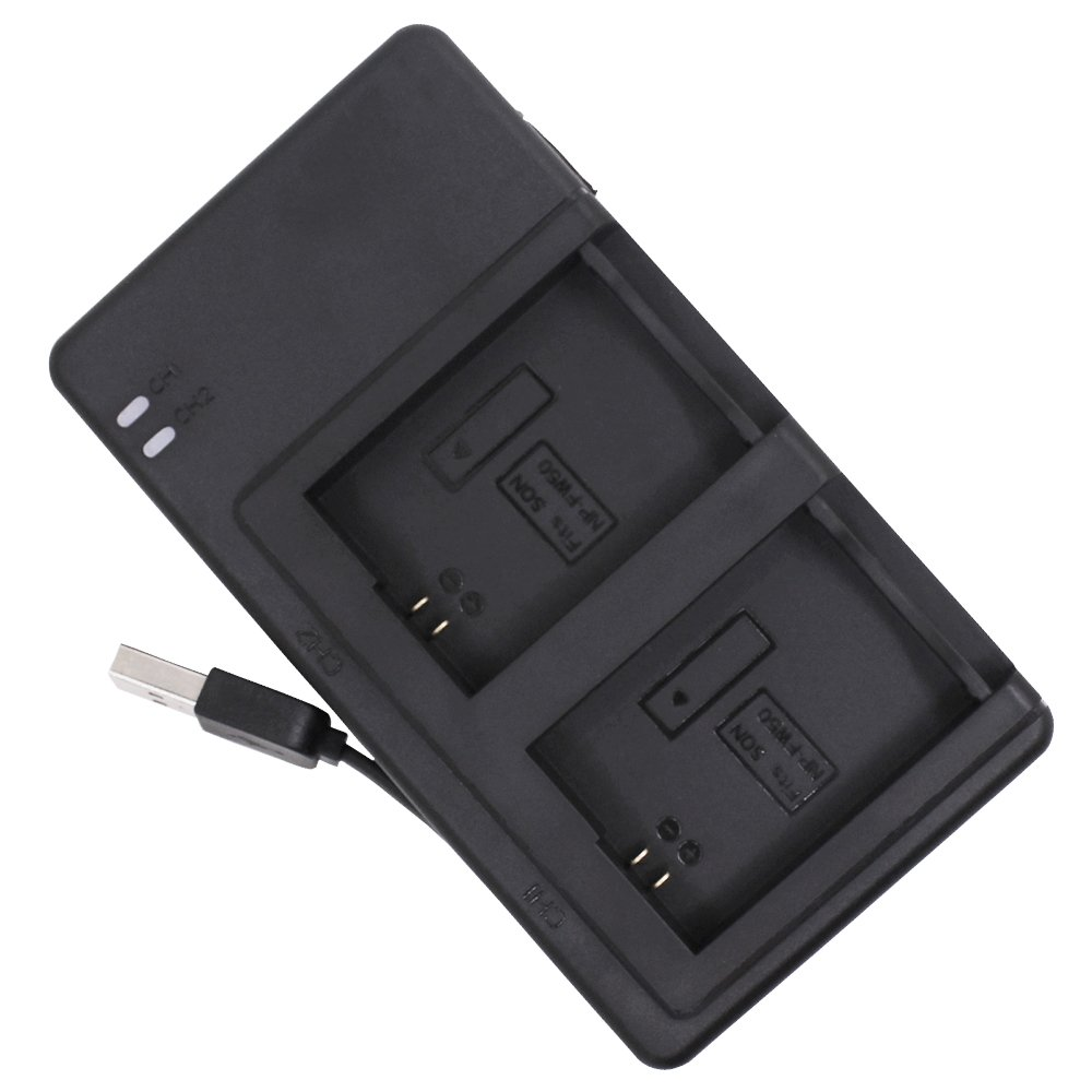 Battery Charger Compatible Sony NP-FW50 with Charging USB Cable, AFUNTA DC Dual Charger Compatible Sony NEX-3 NEX-7 NEX-C3 SLT-A33 A3500 A5000 A5100 A6000 A7 A7R A7S A7 II - Black