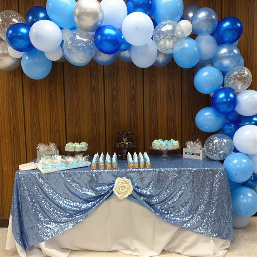 QueenDream Baby Blue Sequin Tablecloth Seamless Wedding Tablecloth Rectangle Table Cover 90x90 Inches Sequin Table Linens Overlay