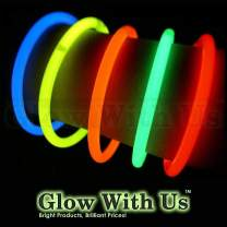 """Glow Sticks Bulk Wholesale Bracelets, 100 8"""" Assorted Glow Stick Glow Bracelets, Bright Color, Glow 8-12 Hrs, 100 Connectors Included, Glow Party Favors Supplies, Sturdy Packaging, GlowWithUs Brand…"""