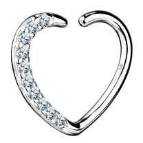 OUFER Heart Daith Earring 14K Soild White Gold Heart Sharped Right Closure Daith Cartilage Tragus Helix Earrings 16 Gauge Piercing Jewelry