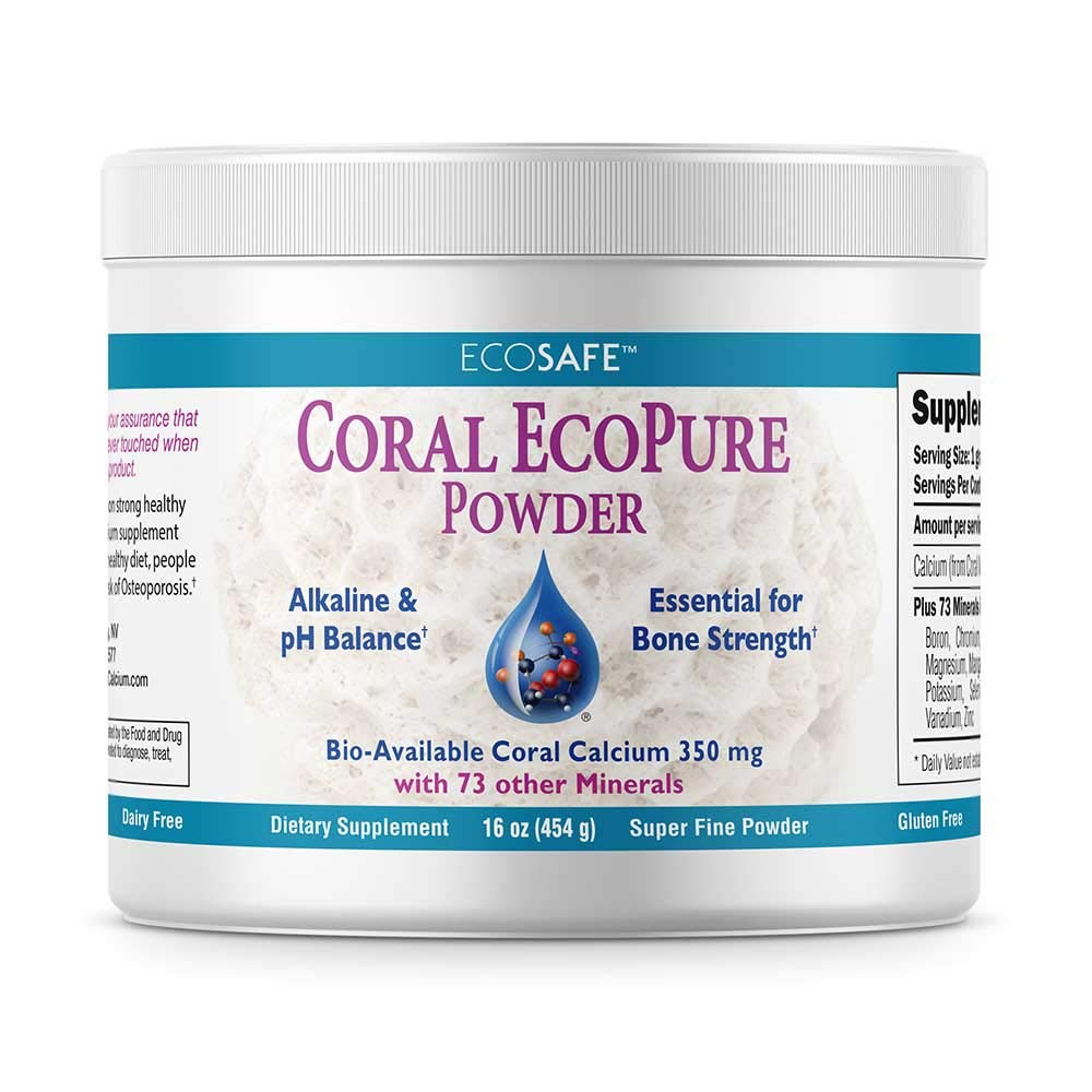 Coral Calcium EcoPure Powder 16 Ounces - Non GMO Project Verified Sustainably Harvested EcoPure Powder