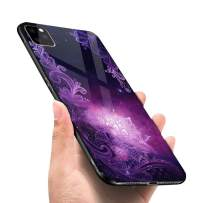 LANYOS Compatible iPhone 11 Pro Max Case, Ultra-Thin Tempered Glass Pattern Painted Back Cover + Soft TPU Bumper Frame (6.5 inch 2019) (Star Lace)