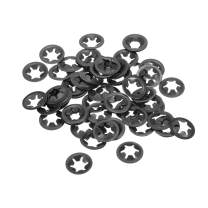 uxcell M5 Starlock Washer 4.5mm I.D. 14mm O.D. Internal Tooth Lock Washers Push-On Locking Speed Clip 65Mn Black Oxide Finish 60pcs