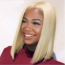 613 lace frontal wig 100% Human Hair Wigs Blonde Hair Wigs Bob Cut #613-6 inch Deep Part and Easy Can be Dyed any Color 12 inch
