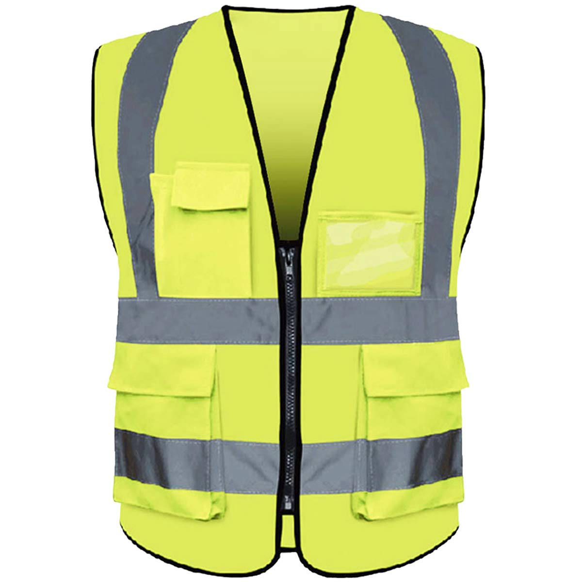Reflective Safety Vest ANSI Class 2 High Visibility with 5 Pockets and Zipper XL 2XL Yellow