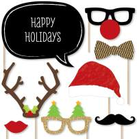 Big Dot of Happiness Holiday Party - Christmas Photo Booth Props Kit - 20 Count