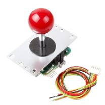 SANWA Arcade Joystick Japan Original JLF-TP-8YT 4/8 Way Operation Adjustable with Red Ball Top and 5 Pin Wiring Harness