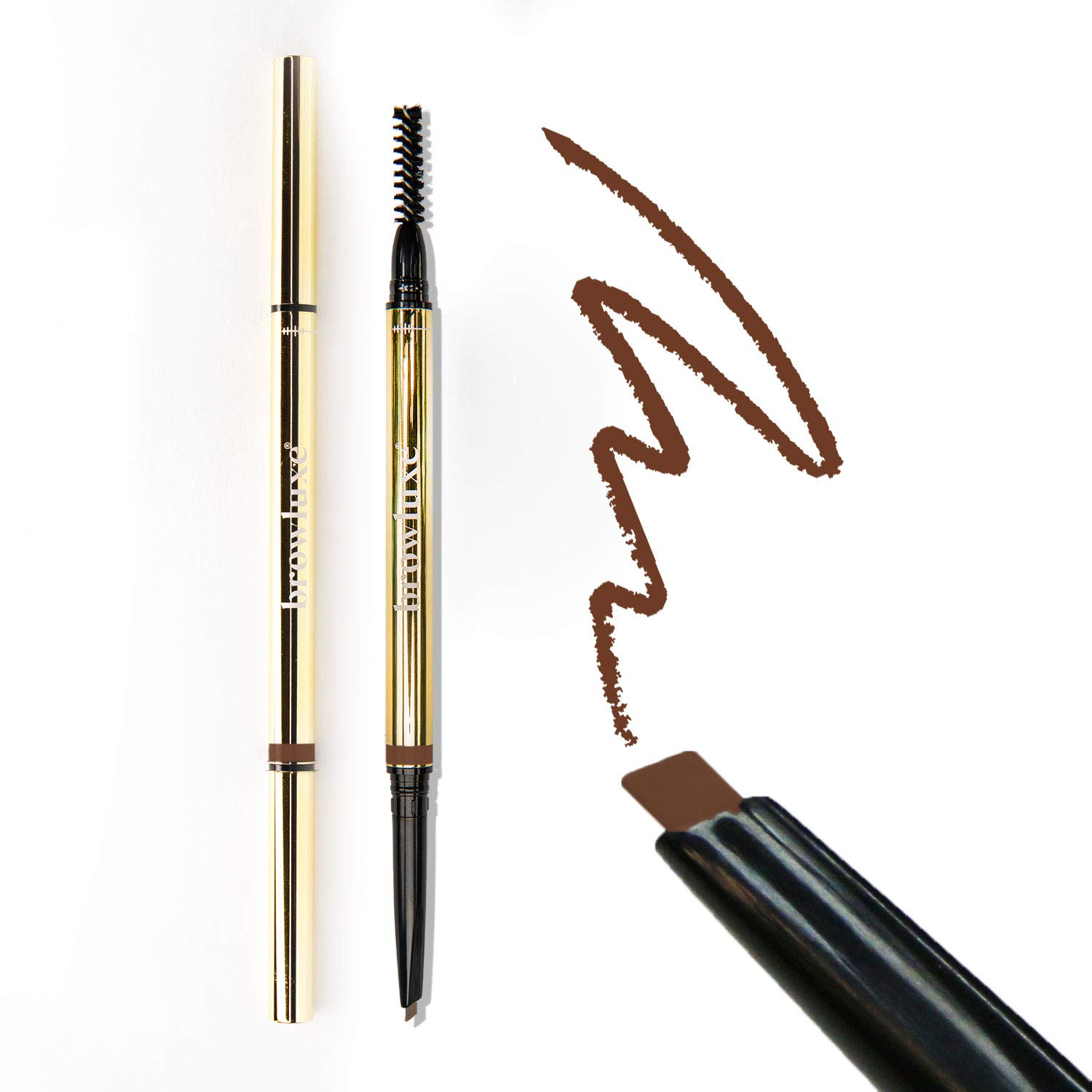 browluxe Precision Brow Pencil for Microblading Effect   Nutmeg Red Eyebrow Pencil for Red and Auburn Hair   Eyebrow Kit with Pen and Brow Brush   Smudge Proof Brow Color for Flawless Brows