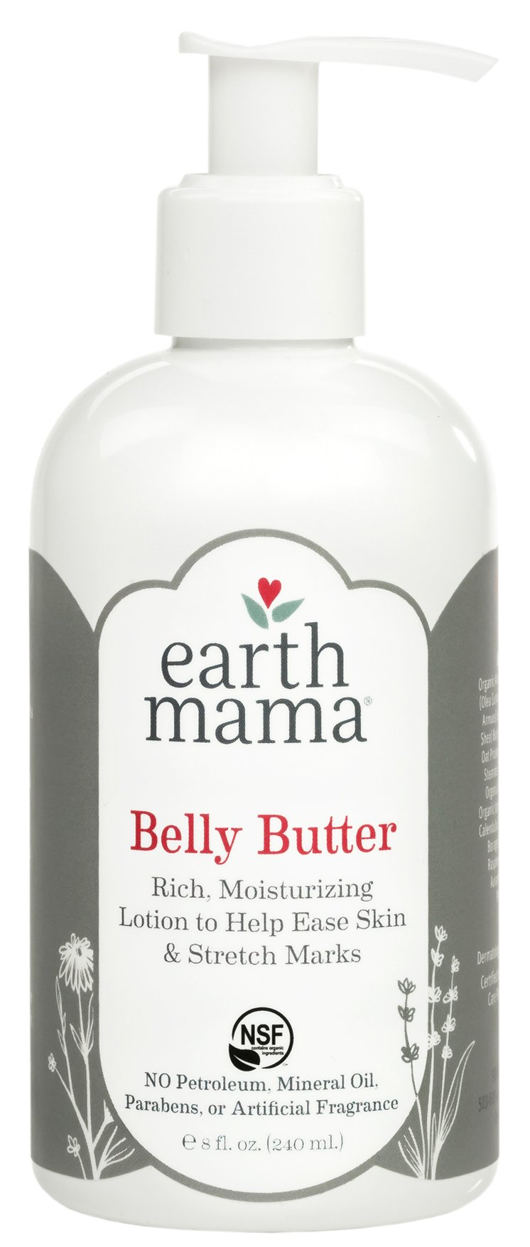 Belly Butter by Earth Mama | Contains Organic Herbs and Oils to Help Ease Skin and Stretch Marks During Pregnancy, No Artificial Fragrance, 8-Fluid Ounce