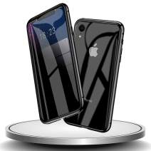HYAIZLZ iPhone Xr Privacy Glass Case Double Sided 9H Glass Slim Mirror Metal Edge Magnetic Protective Case for iPhone Xr,Black