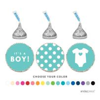Andaz Press Chocolate Drop Labels Trio, Fits Hershey's Kisses, Boy Baby Shower, Diamond Blue, 216-Pack